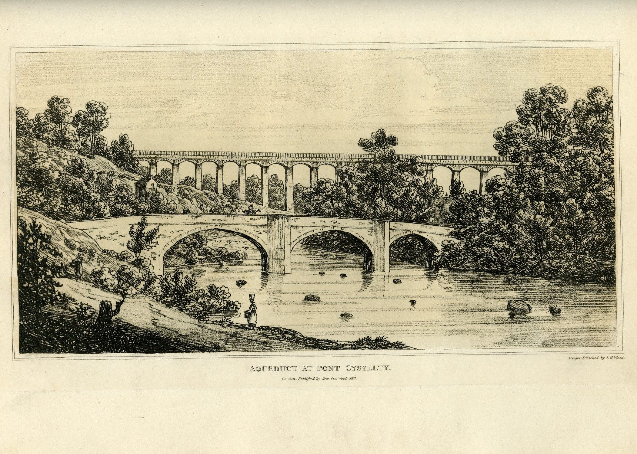 This picture is of the Aqueduct at Pontcysyllte, designed and built by Thomas Telford and William Jessop. Engraving from John George Wood's 'The principal rivers of Wales illustrated' (1813).