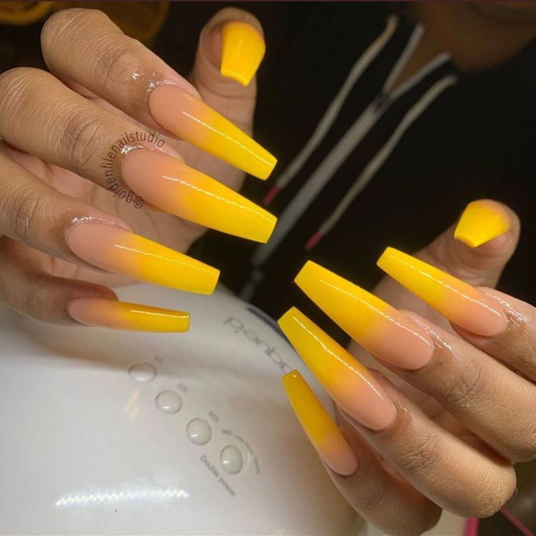 "yellow baaby ������ on Instagram: ""which yellow set ? ������ (follow @yellow.baaby for more)  #explore #explorepage #nailsofinstagram #nails #nailart #nail #nailsonfleek #nails������…"" #yellownails"