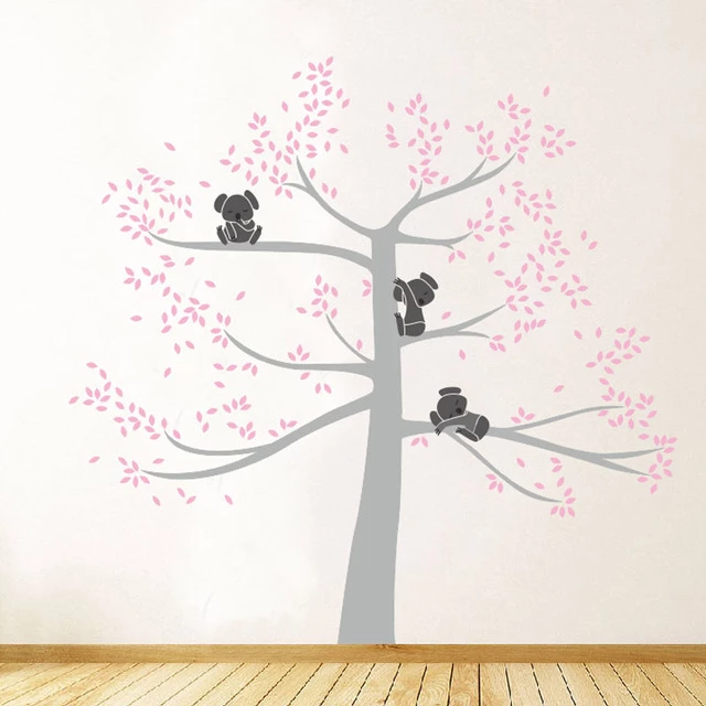 Family Of Koalas On Branches In Large Tree Vinyl Decals Wall Art Removable Mural For Baby Room Kids Room Home Decor Vinyl Wall Decals Decal Wall Art Nursery Wall Stickers