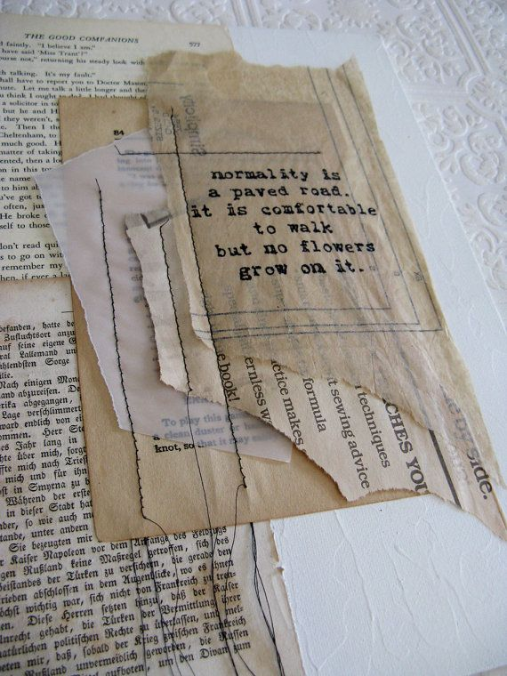 original mixed media collage with inspirational quote. by ancagray, $25.00