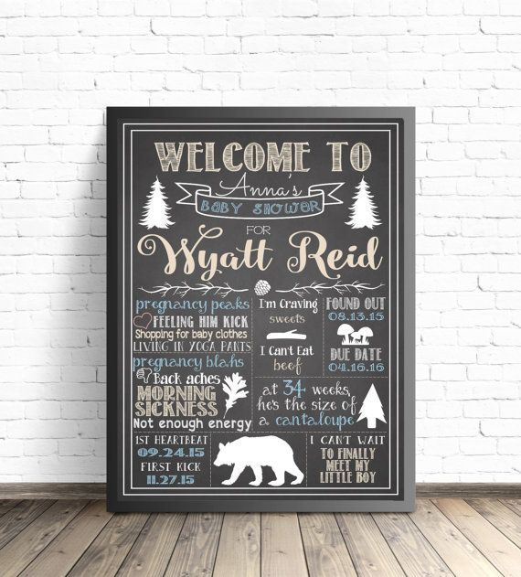 Baby Shower Woodland Animals Chalkboard Sign / by ParkAndMaddy trendy family must haves for the entire family ready to ship! Free shipping over $50. Top brands and stylish products