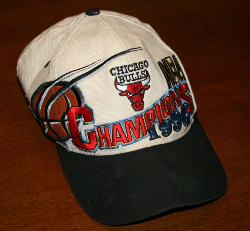 47e90ce9c5a Vintage Chicago Bulls 1996 NBA Champions Snapback Cap Hat-sewn  ChicagoBulls