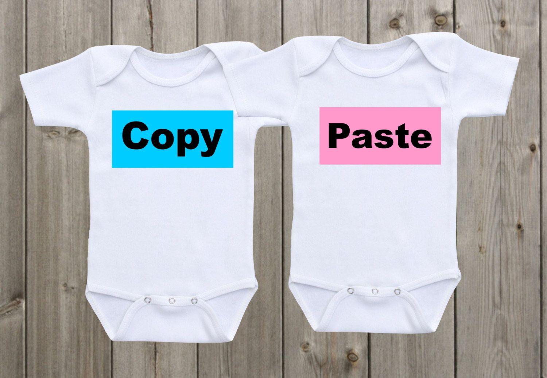 Baby Shower Gift Matching Twin Bodysuit Copy Paste Twin Bodysuits Ctrl-C Ctrl-V Twin Pregnancy reveal Identical Newborn Twins