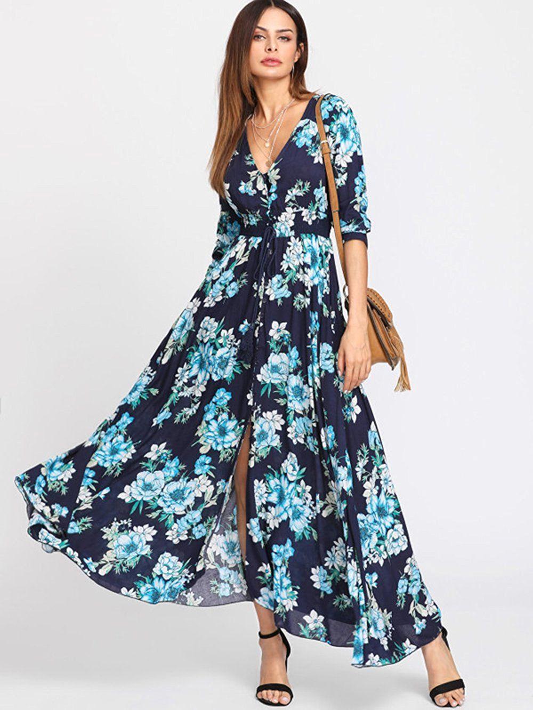 Milumia Women\'s Button Up Split Floral Print Flowy Party Maxi Dress ...
