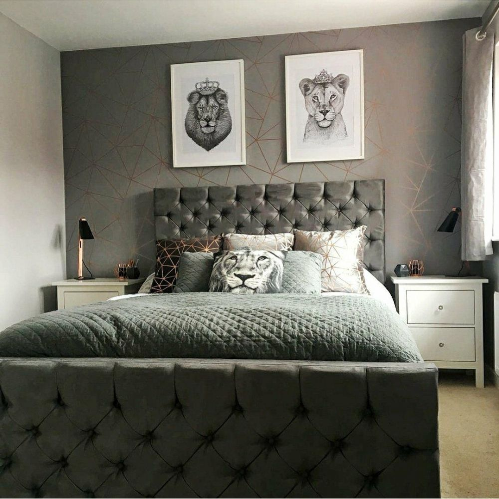 I Love Wallpaper Zara Shimmer Metallic Wallpaper Charcoal Copper Ilw980112 Wallpa In 2020 Grey Wallpaper Bedroom Bedroom Wallpaper Ideas Uk Wallpaper Decor Bedroom