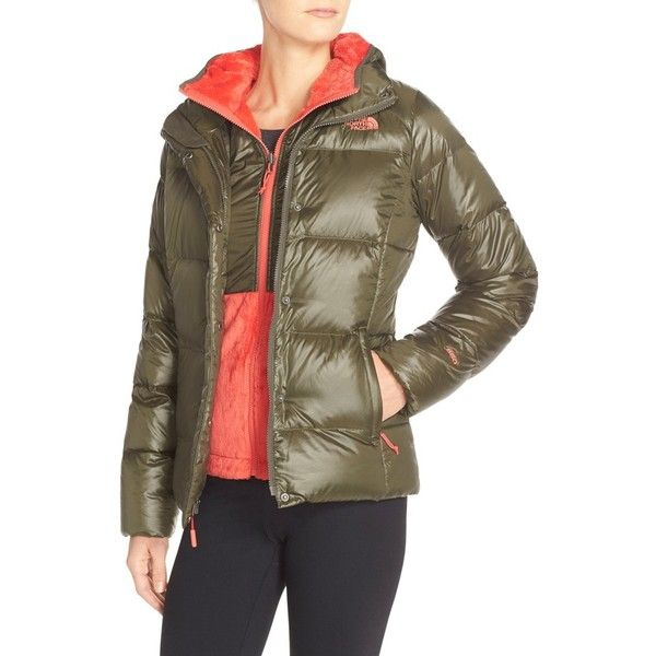 The North Face 'Sumbu' TriClimate 3-in-1 Down Jacket ($280) ❤ liked on Polyvore featuring outerwear, jackets, new taupe green, quilted jacket, down filled jacket, green zip jacket, green jacket and zip front jacket
