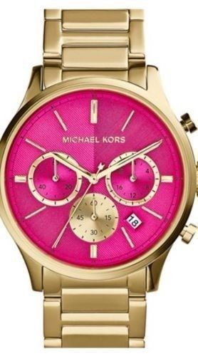 8e4f98d130dc Michael Kors Bailey Chronograph Bracelet Watch 44mm Hot Pink Face MK5910 NEW