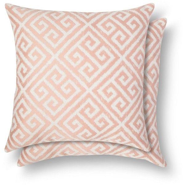 2 Pack Pillow Blush Greek Key ($22) Liked On Polyvore