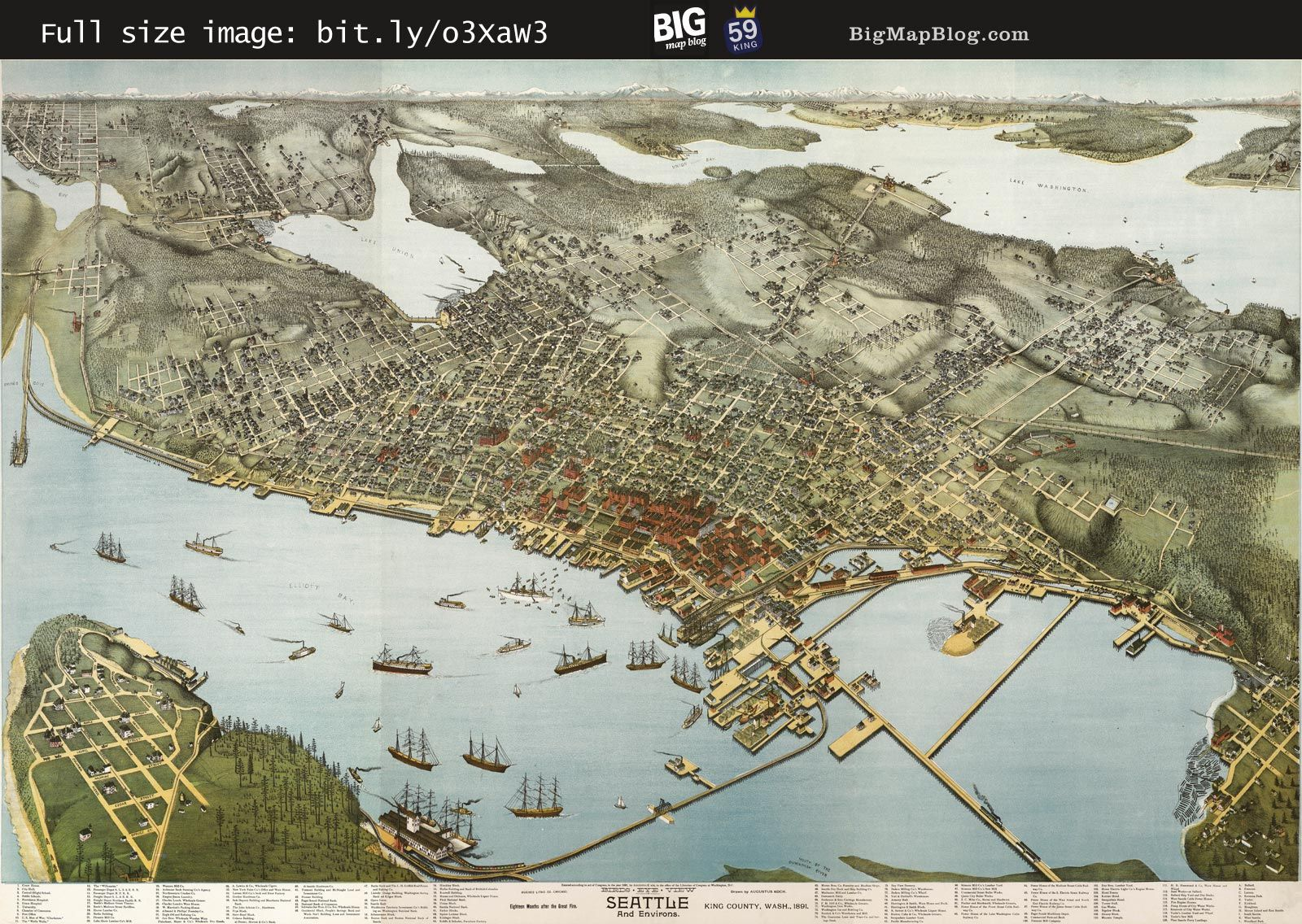1891 Seattle WA Birds Eye View Panoramic