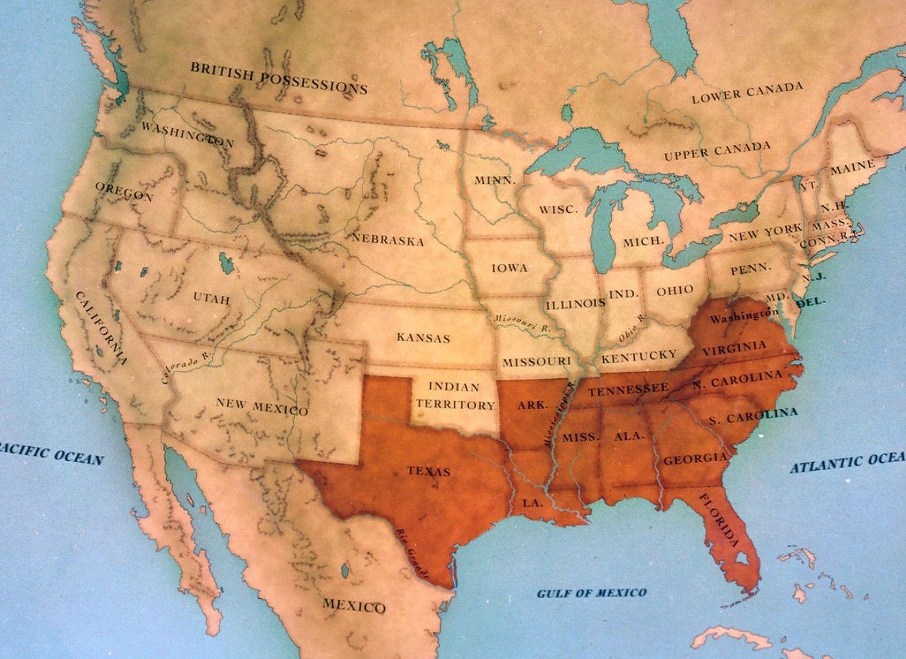 America Map During Civil War