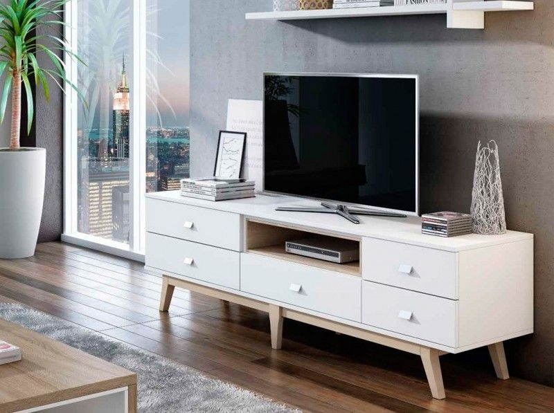 Un mueble tv vintage blanco que a ade un toque retro a for Mueble que esconde tv