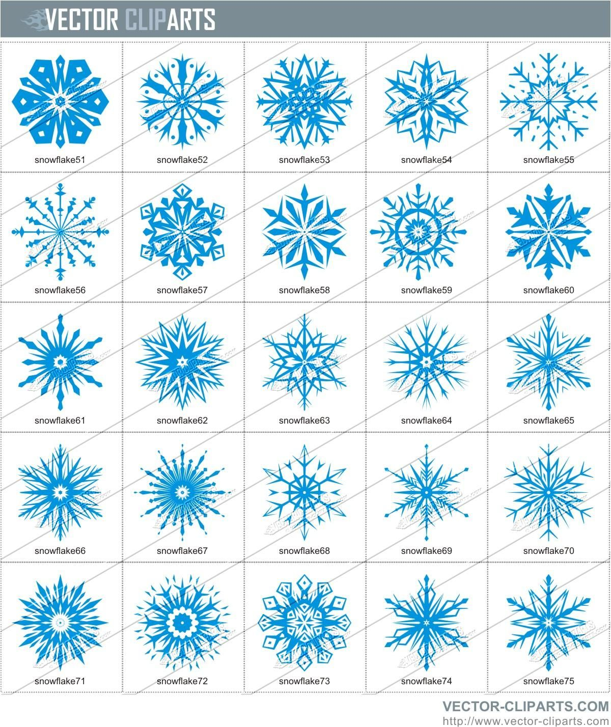 Snow Flakes Clip Art | Simple Snowflakes Clipart III - vinyl-ready ...