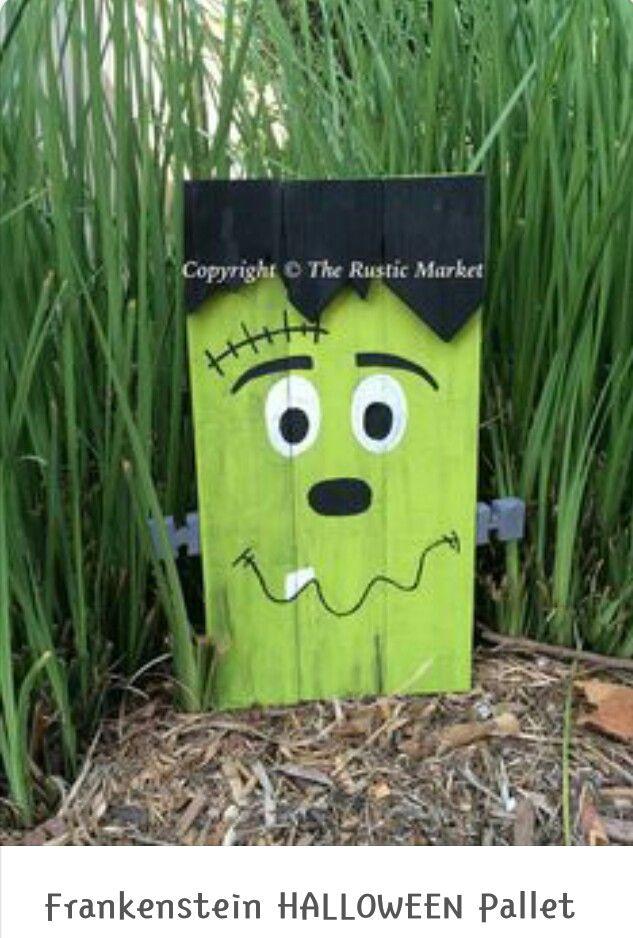 Frankenstein Pallet Craft Halloween Pallet Signs Halloween Wood