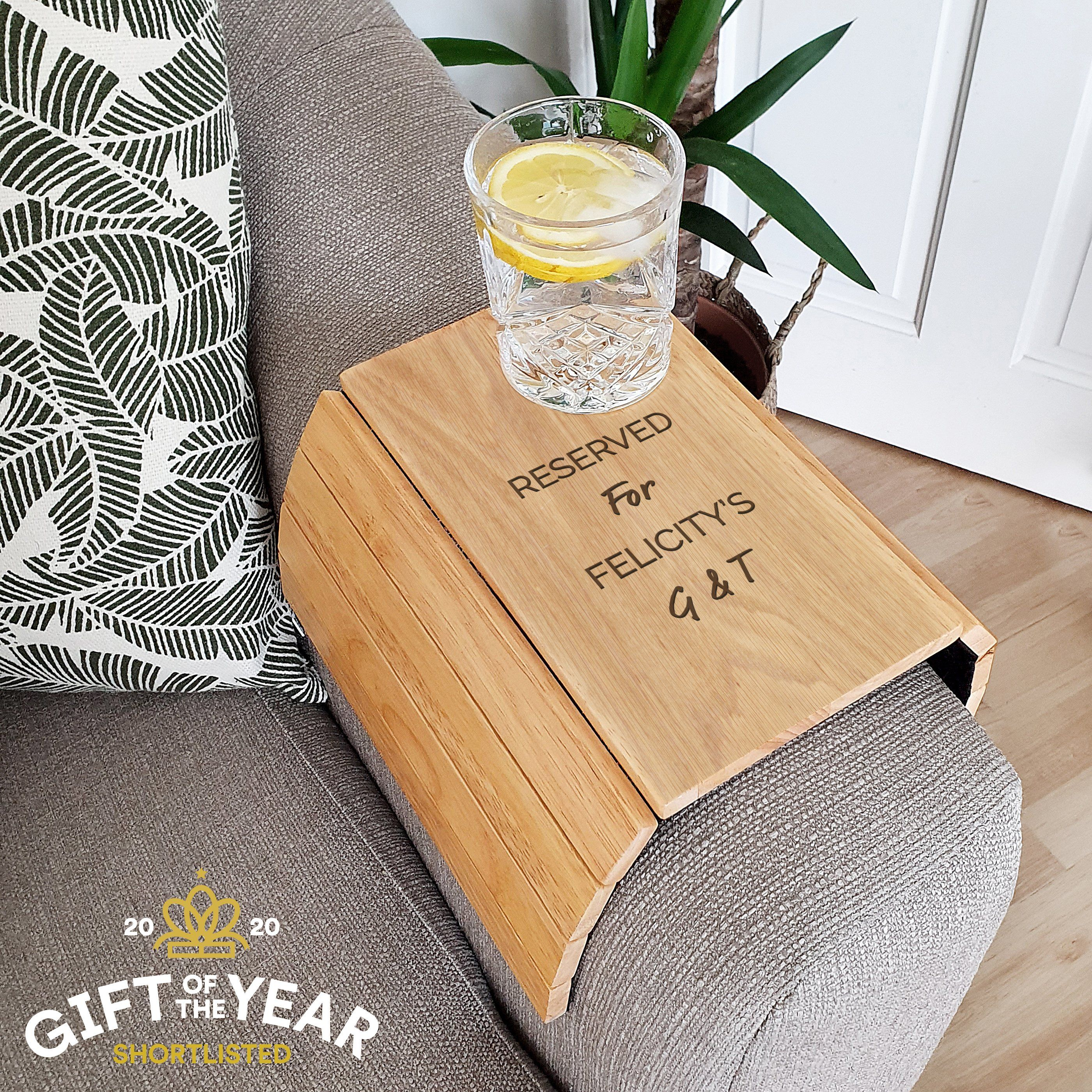 Personalised Free Text Wooden Sofa Tray In 2020 Wooden Sofa New Home Gifts Personalized Gifts For Her