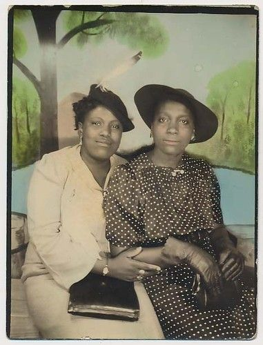 ** Vintage Photo Booth Picture **   Wonderful picture of two African American women.  The hand tinting is lovely. ca. 1940