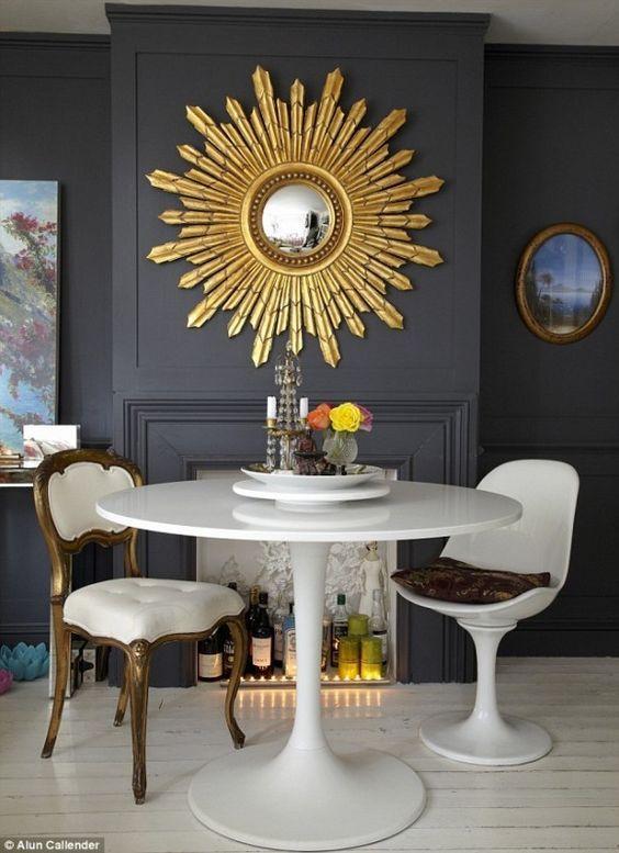 Favorite Furnishings Sunburst Mirrors Cobalt Gold Interiordesign Interiorinspiration Dinin Sunburst Mirror Wall Mirror Wall Living Room Mirror Decor