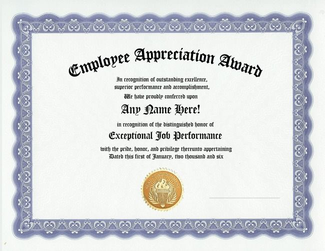 EMPLOYEE APPRECIATION AWARD CERTIFICATE-OFFICE JOB WORK RECOGNITION - best of recognition award certificate wording