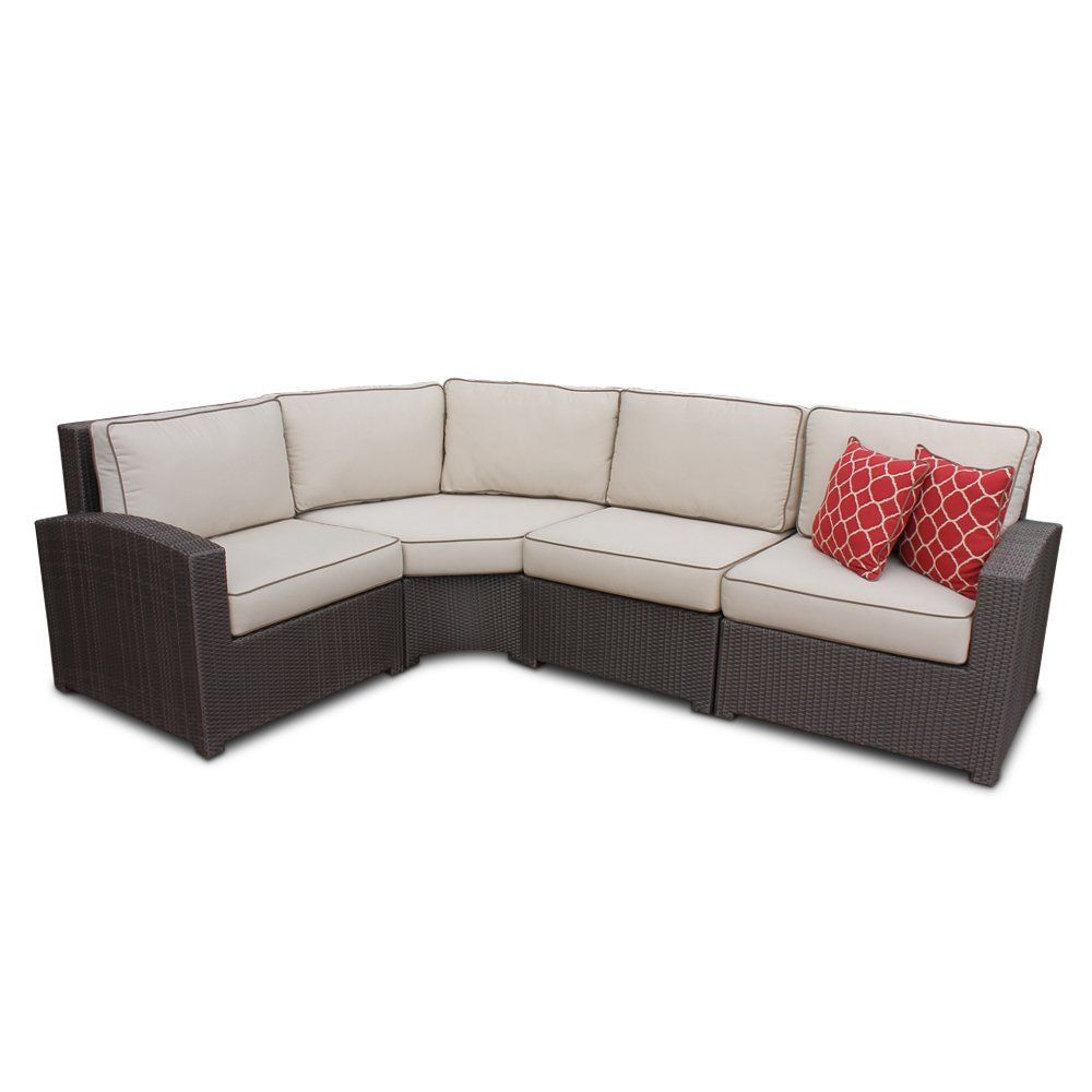 Amazon Com Wicker High Back 4 Piece Curved Sectional With Curved