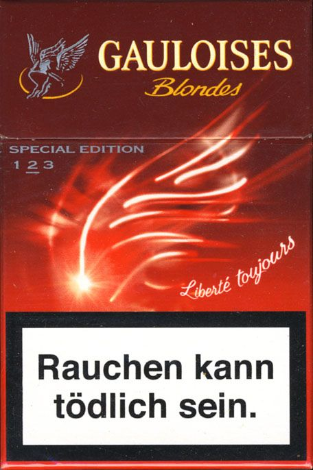<b>Gauloises - SE Liberte Toujours 2004 AT Limited Edition Rouge 2 - Blondes (German warning, EU1)</b><br><br><i>Sold in</i> Austria <br><i>Made in</i> France in 2004 year <br><i>Producer</i>: Altadis<br><i>Trade Mark Owner</i>: Altadis<br><i>Concentration of nicotin/tar/monoxide</i>: 0,6/7/9<br><i>Size height/width/depth (mm)</i>: 87/57/22<br><i>Open type</i>: Flip-Open<br><i>Condition</i>: 3D-form<br><b>DOUBLES AVALIABLE</b>: NO