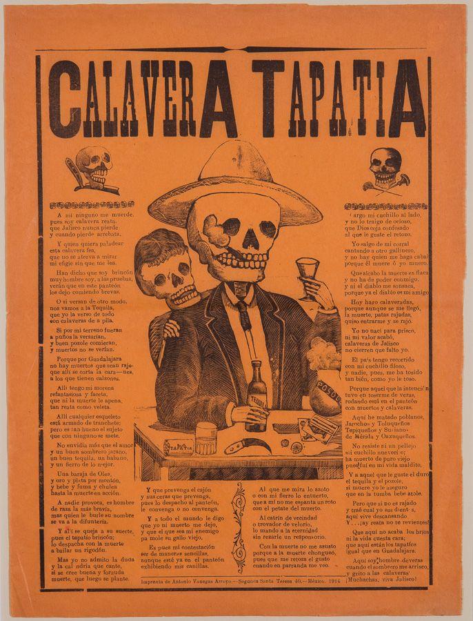 Jose Guadalupe Posada S Calvera Tapatia From 1914 Leaflet Printed Black On Orange Paper 15 5 8 X 11 5 8 In Imprenta Leaflet Printing Orange Paper Leaflet