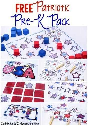 FREE PreK -K Patriotic Pack | Kindergarten age, Toddler preschool ...
