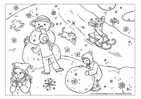 Snow Day Sledder With Dog Running Coloring Pages Winter Colouring Pages Coloring Books