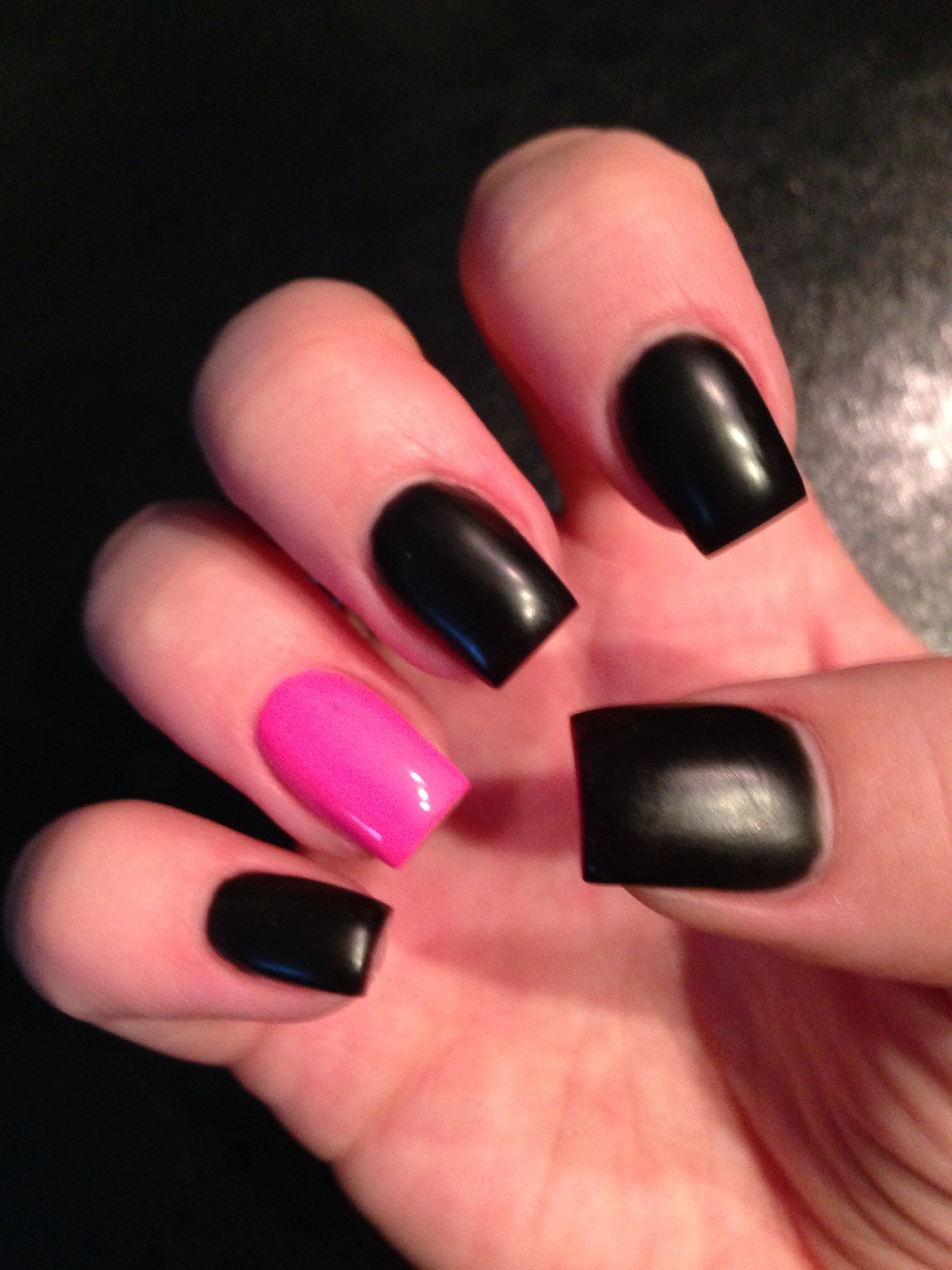 Matte Black Pink Nails
