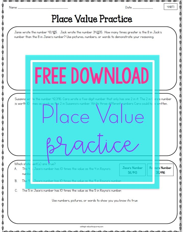 Get a FREE place value practice sheet that is perfect for 4th grade ...