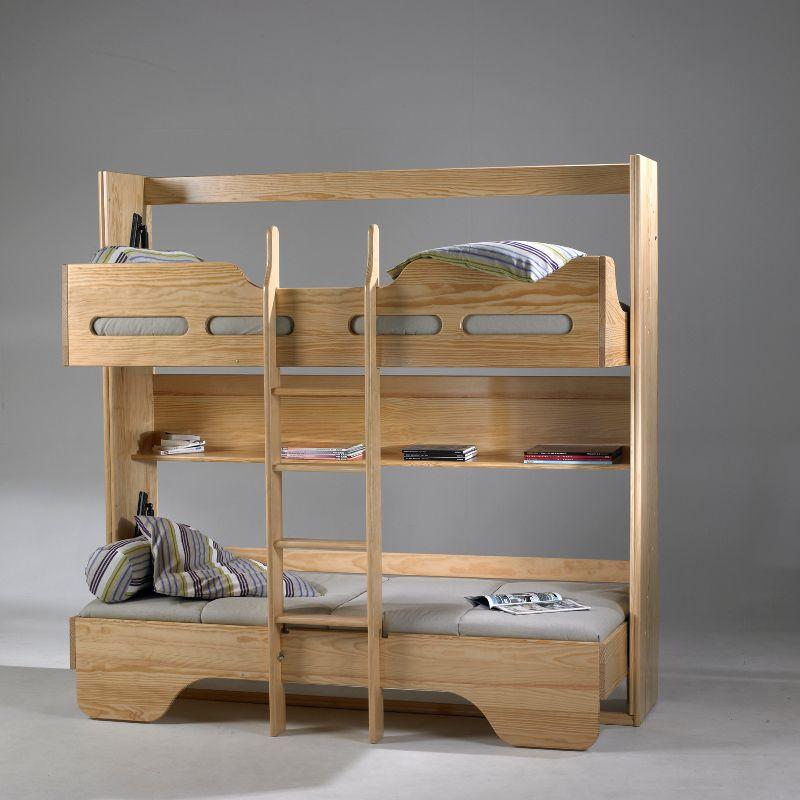 Lit rabattable et lit superposé passe plats meubles en pin