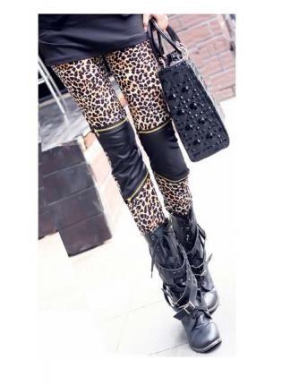 Leopard/PU Zipper Detail Skinny Leggings,  Bottoms, leopard leggings  pu leggings  zipper leggings, Chic