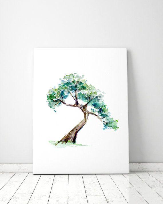 Bonsai Boom Schilderij Bonsai Kunst Giclee Print Boom Etsy Tree Watercolor Painting Bonsai Tree Painting Tree Drawing