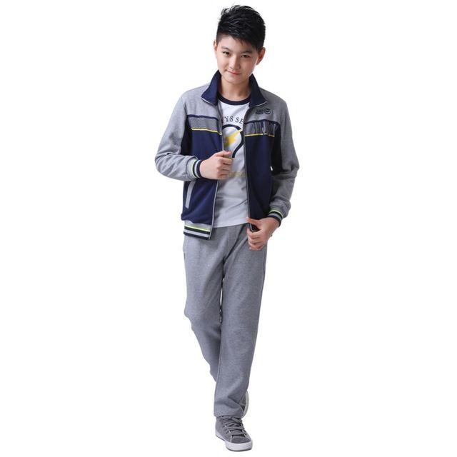 Big Deal ! Sport Fashion Children Clothing Sets Jackets & Pants [ Dark Blue ] Active Boys Cotton Active Two Pieces Suits Spring