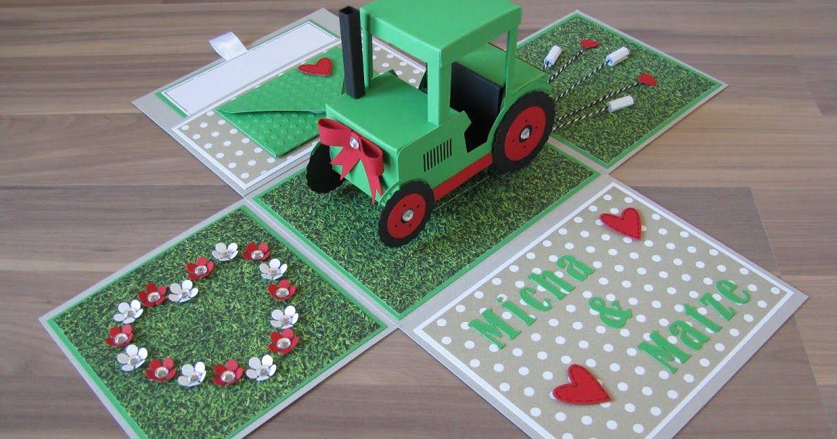 Geschenkbox Traktor Hochzeit Uberraschungsbox Explosionsbox