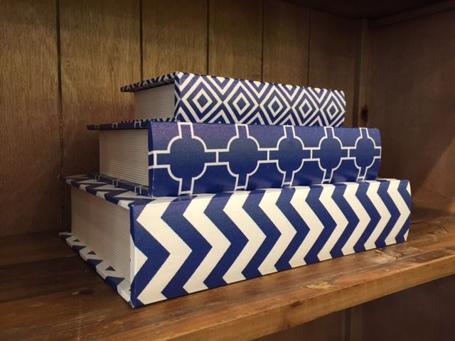 Blue and white books