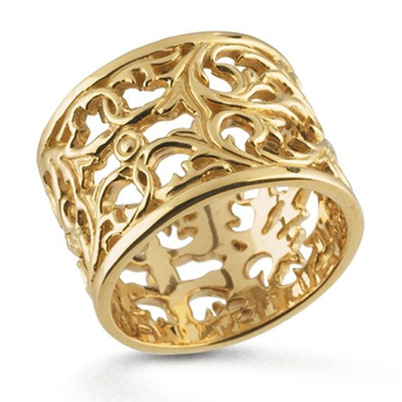 14k yellow gold filigree band ring 14 5mm wide by