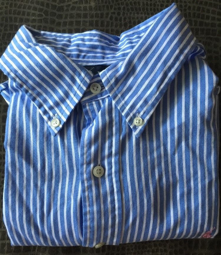 Men Ralph Lauren Classic Fit Light Blue White Striped x Large Shirt | eBay