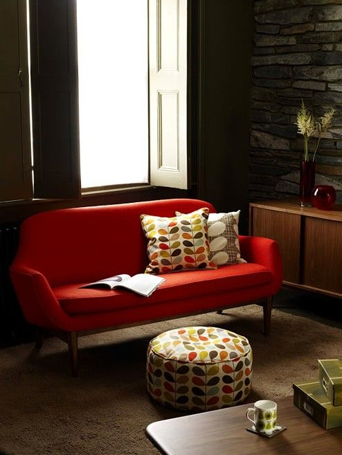 Red Mid-century Modern Sofa