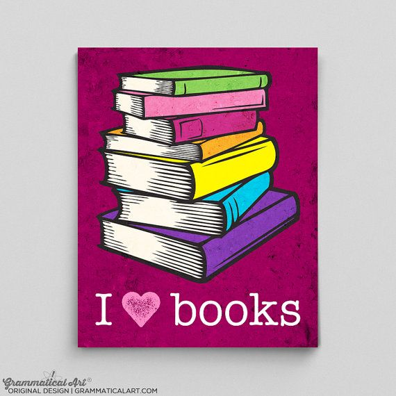 English Teacher Print Librarian Poster I Love Books Gift Teacher ...