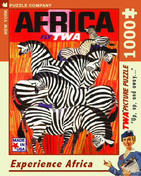Experience Africa!  1000 Piece Puzzle of a TWA travel poster adorned with grazing zebras.