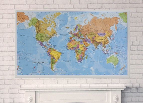 politcal map of the world laminated pinboard mounted extra large on etsy