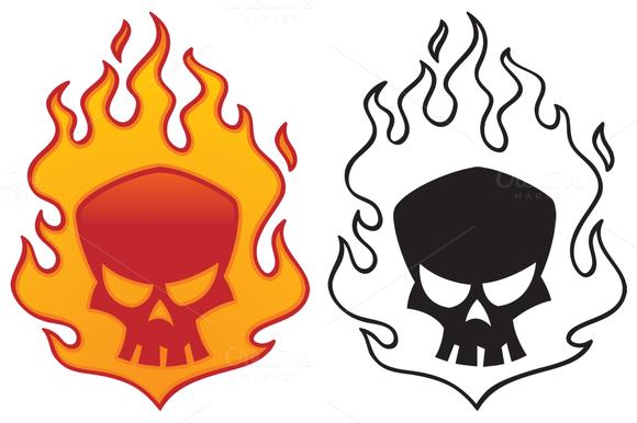 Flaming Skull Graphic poster art, Vector illustration