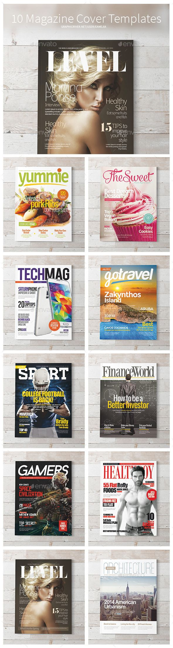 Magazine Covers Templates Psd By Emejia Essential Set For Magazine