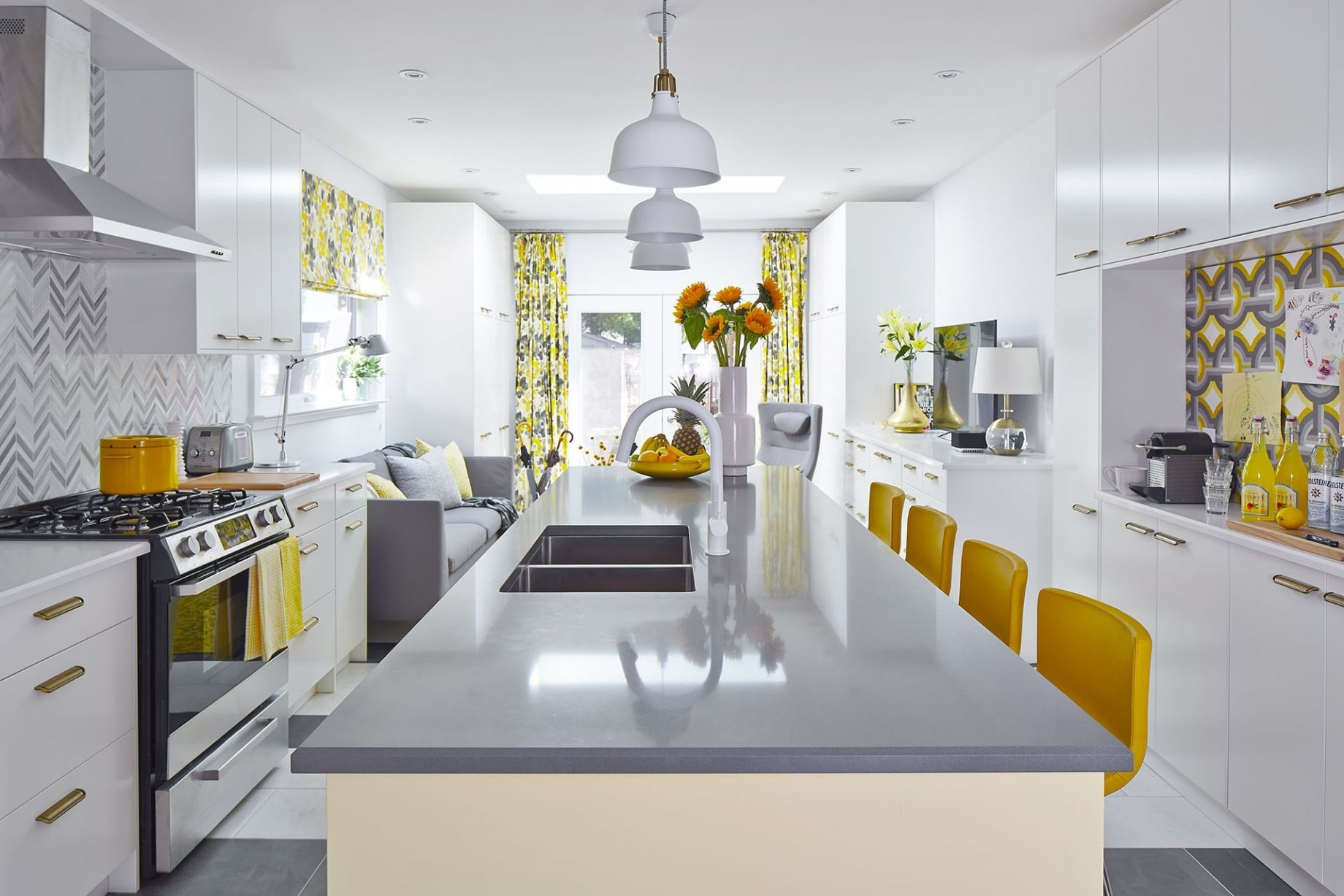 Sunny Side Up Kitchen White And Grey Kitchen With Yellow Island And Seating White Kitchen Decor Grey Yellow Kitchen Yellow Kitchen Accents