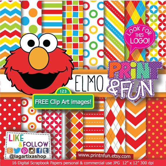 Elmo Digital Paper Patterns Sesame Street Backgrounds By Printnfun EUR300