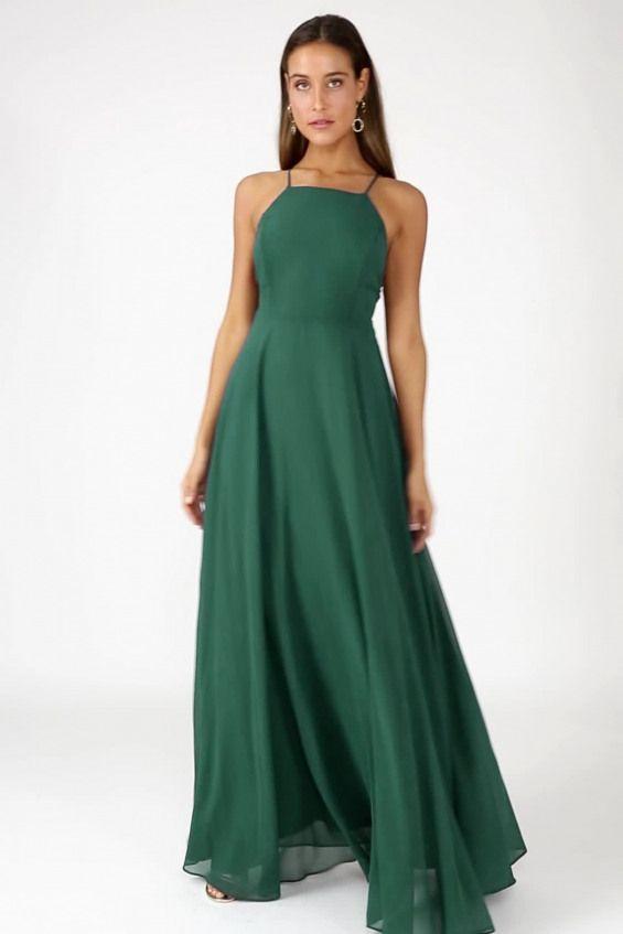 Beautiful Dark Green Dress - Maxi Dress- Backless Maxi Dress