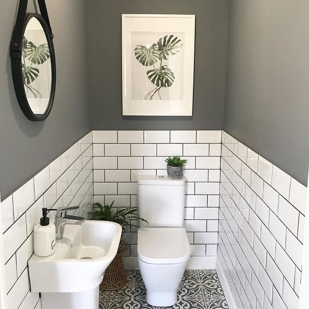 "Period Home & Interiors on Instagram: ""The little room with a wonderfully big tiling solution.. bother the metro wall tiles with coloured grout and the patterned floor tiles.…"" #smalltoiletroom"