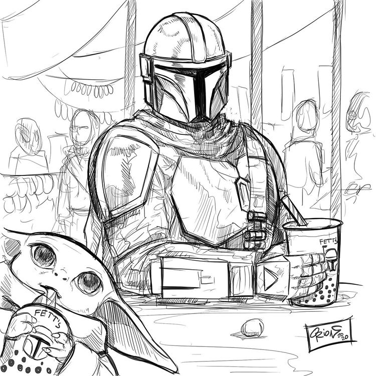 Orion Twomillion On Instagram Cute Mandalorian And Baby Yoda Sketch Tonight Starwars M Star Wars Fandom Mandalorian Star Wars Fans