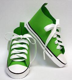 Baby Converse Paper Shoe Template | Paper shoes, Shoe