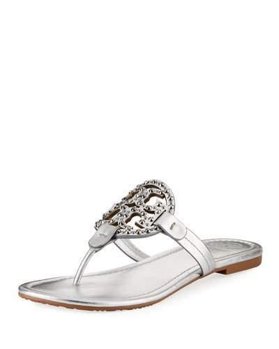 41b424d56239 Tory Burch Miller Flat Metallic Leather Slide Sandals with Embellished Logo