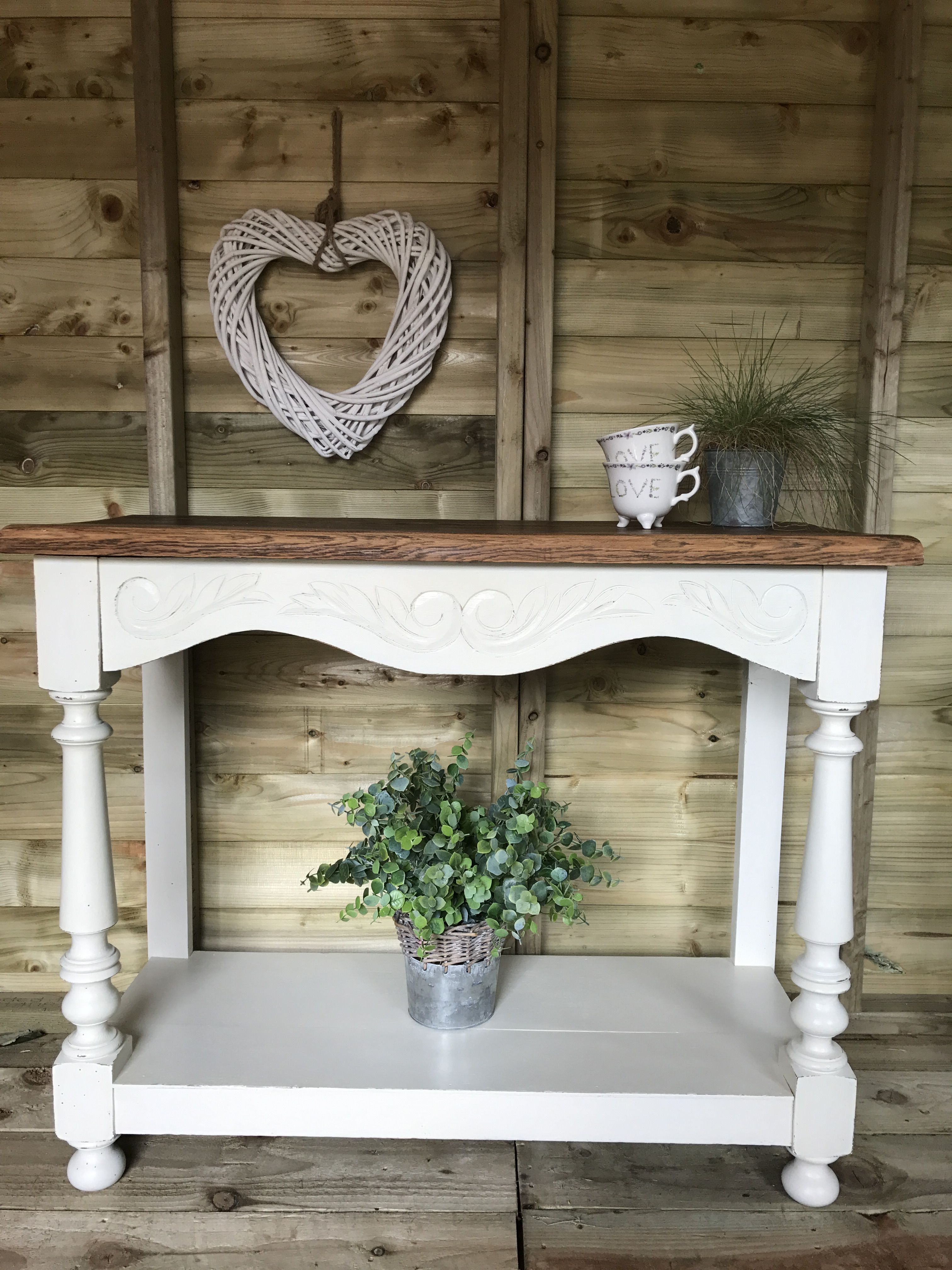 Farmhouse console hall table finished in gf antique